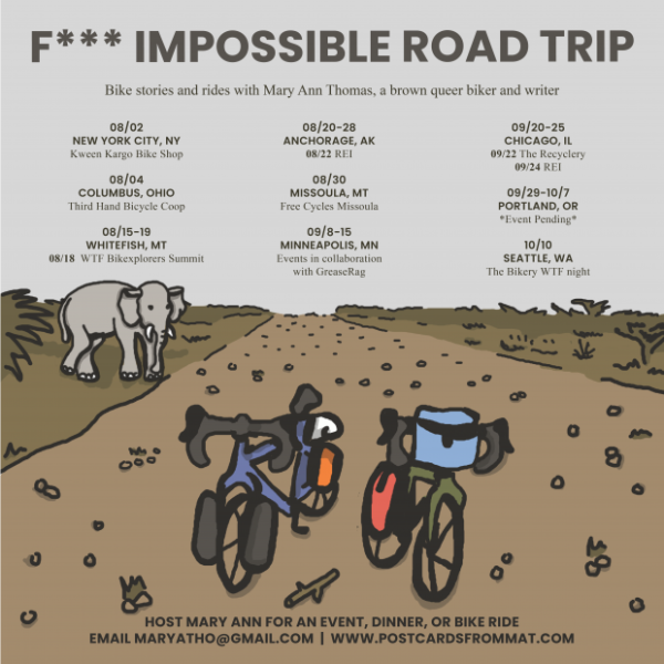 two bicyclers standing on a dirt road, elephant in background, with event text