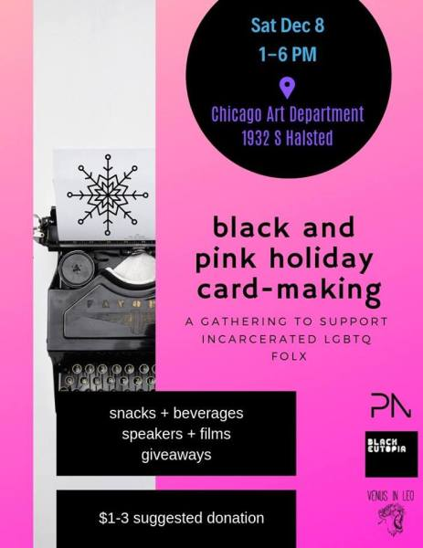 Mostly pink background with slice of white + black typewriter, event info in black and white text.