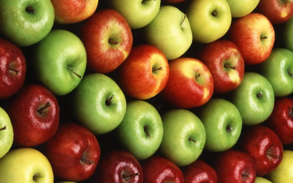 Picture of many red and green apples.