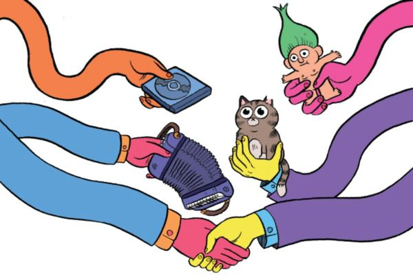 Cartoonish and colorful digital drawing of wiggly arms trading random stuff, one pair shaking hands.