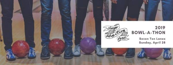 Photo of several sets of legs, clad in jeans, bowling balls between feet.
