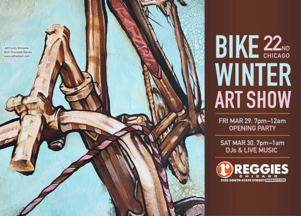 Close up image of classic bike, looks like a painting in browns and blues, event info on side panel.