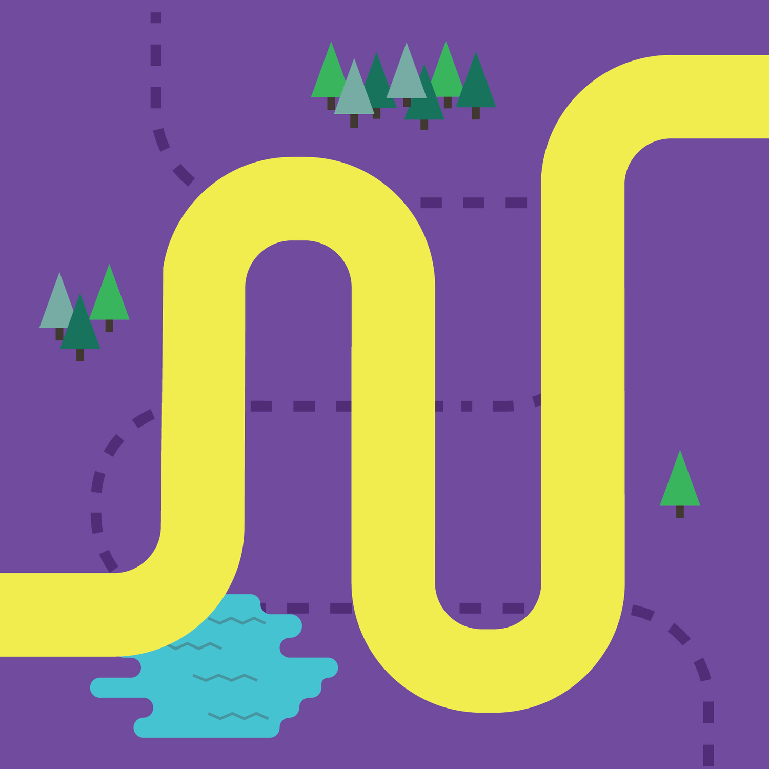 Digital cartoon map, yellow path over purple ground, small trees & water blob, dotted line off path.