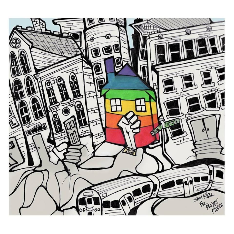 Line drawing of packed city neighborhood street with one rainbow house shape in the middle.